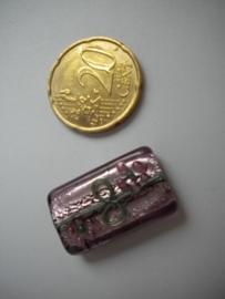 Erg mooie glaskraal, handgemaakt! Roze-lila  25 mm