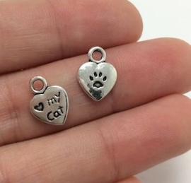 """10 stuks Tibetaans zilveren """"love my cat"""" 13 x 10 x 3mm zilver oogje: 2mm ♥"""
