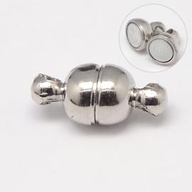 2 x  Magneetsluiting  5 x 11mm gat: 1mm platinum kleur