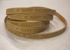 20 cm Plat imi leer 10mm met quote  Happy thoughts Camel brown