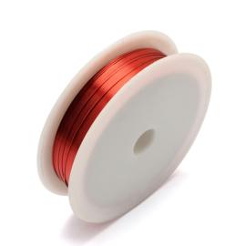 Metaal koper draad 0,4mm dik 12 meter op een rol orange red