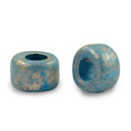 5 x DQ Grieks keramiek kralen gold spot 9mm Ocean blue gat 3,9mm