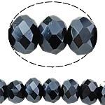 10 x Briolette kristal kraal 8x6 mm gat 1,5mm antraciet
