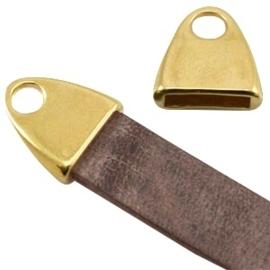 DQ metaal eindkap met oog (voor DQ leer plat 10mm) goud