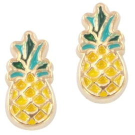2 x Floating Charms Ananas Goud 10x5 mm