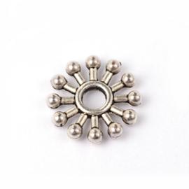 25 metalen Snowflake tussenzetsel spacer kralen 10 x 2mm gat: c.a. 2,5mm