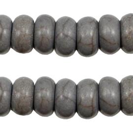 10 x Keramiek turquoise kralen disc 8mm Donker grijs