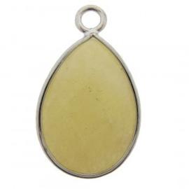 1x bedel edelsteen druppel jade facet geel zilver 17x28mm
