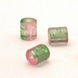 30 stuks crackle glas kralen cilinder vorm 7 x 8mm groen licht roze
