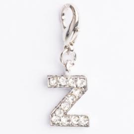 Be Charmed letter Z bedel met karabijnsluiting zilver met een rhodium laag (nikkelvrij)
