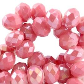 15 x Top Facet kralen 6x4 mm disc Rouge pink diamond coated