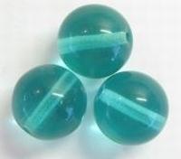 Per stuk Glaskraal rond smaragdgroen 12 mm