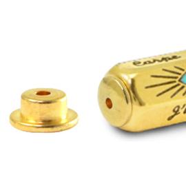 2 x C.U.S® sieraden message beads eindkap Goud (nikkelvrij)