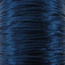 1 meter satijnkoord  van ca. 2 mm dik, donker blauw