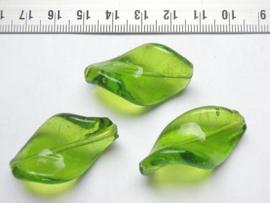 3 stuks grote groene twisted (wokkel) kralen van glas 35 x 18mm groen Gat: 2mm