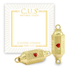 """1 x C.U.S® sieraden message beads tussenstuk """"you back"""" & hearts Goud"""