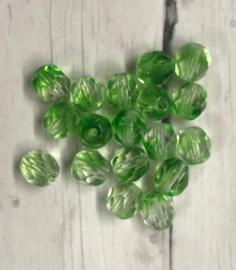 10 stuks groene facetglaskralen 6mm gat 1mm