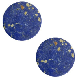 1 x Cabochon basic plat stone look 12mm Blue-gold