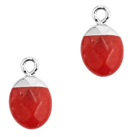 1 x Natuursteen hangers Crimsom red-silver Jade