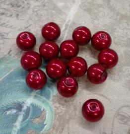30x prachtige glasparels 8mm Gat: 1mm bordeaux rood