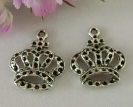 4 x Tibetaans zilveren bedel van een kroon 20 x 23,5mm
