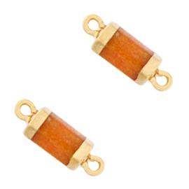 1 x Natuursteen hangers tussenstuk hexagon Amberglow orange-gold