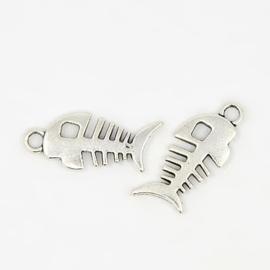 5x Tibetaans zilveren bedel visgraat 28 x12 x 3mm oogje: 3.5mm