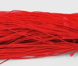 8 meter rond elastisch koord van rubber voorzien van een laagje stof 1mm rood