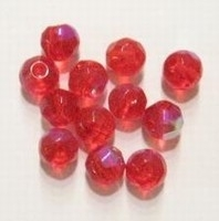 10 x Glaskraal facet kristal Rood AB 8 mm