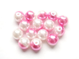 15 stuks tweekleurige glas parels van 10mm Gat: 1,5mm roze-wit
