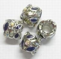 Per stuk Metalen European-style met paarse epoxy en strass 9 mm