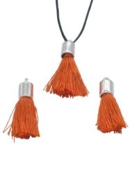 2x Stoffen kwastjes met kapje 30x10mm donker oranje