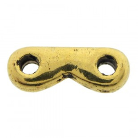 10 x Kraal tussenstuk metaal 2 draads goud 2x4x12mm oogjes 1,5mm