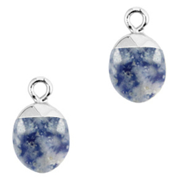 1 x Natuursteen hangers Blue white-silver Blue Stone