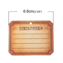 100 stuks Labels smoke bruin voorzien van ponsgat memories  6.8cm x5.3cm