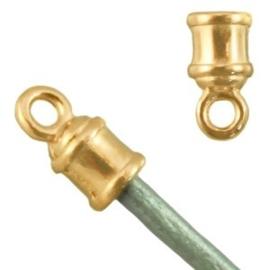2 x Metalen DQ eindkap (voor 2 mm leer) Goud ( nikkelvrij )