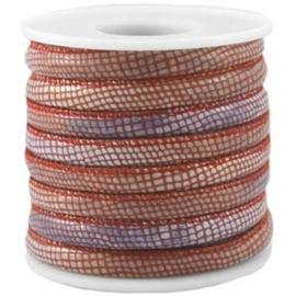 20 cm Gestikt leer imitatie snake Red 5,5mm dik