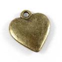 6 x Tibetaans zilveren bedel hartje 14x15mm geel koper kleur