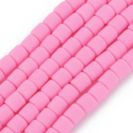 40 x handgemaakte polymeer klei kralen pink 6,5 x 6mm gat: 1,2mm