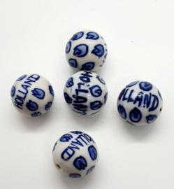 5 stuks grote Keramiek Delfts blauwe kralen porcelein Holland 17,5mm gat: 1,5mm