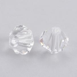 10 x Preciosa Kristal Bicone clear ca. 6mm  gat: 0,7mm