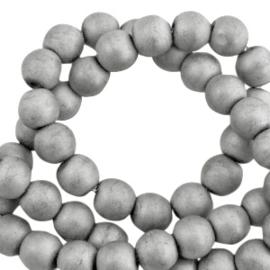 10 x Hematite kralen rond 6mm mat Light grey