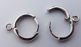 2 stuks  platinum oorbel met oogje 14 mm x 11,6 mm oogje: 1,5 mm