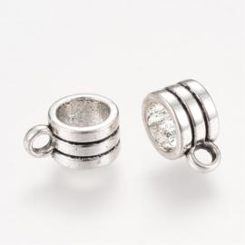 10 x Prachtige Tibetaans zilveren bails hanger  11 x 5,5 x 8mm  Ø 6mm, het oogje is 2mm