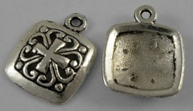 5 x tibetaans zilveren bedeltje 12 x 25mm gat 1mm