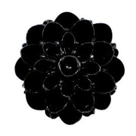 2 x Dahlia bloem kralen 14mm shiny Zwart