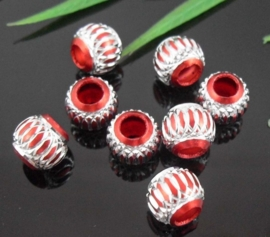 10 x Prachtige rode aluminium kraal 10mm