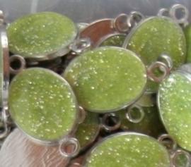 Schitterende metalen tussenzetsel epoxy emaille 16x31mm licht groen