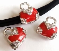 Per stuk European Jewelry kraal tasje rood met strass antiek zilver 15 mm