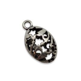 5x 3D Tibetaans zilveren hanger erg mooi! Bali style 13 x 22 x 7mm Gat: 2,5mm